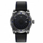 ZINVO BLADE Nitro Automatic Movement Rotating Disc Gunmetal Steel Case Mens Wrist Watch Black Leather Strap