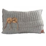 Knit Factory Aran kussen 60 x 40 lichtgrijs