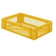 Euro-Format-Stapelbehälter, Wände und Boden durchbrochen LxBxH 600 x 400 x 145 mm gelb, VE 5 Stk