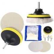 DIY Crafts Buffing & Polishing Accessories Glass Scrach Remover Polishing Set 70g Cerium Oxide Powder+Felt Wheel+Disc+Drill Adapter+2 Pcs Pad+Cloth (7 inch 180mm Set/Kit Multi Color)