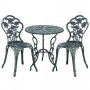 Градински комплект маса с 2 стола [casa.pro]®, дизайн shabby chic Ø 60cm x 67 cm, ковано желязо, Зелен