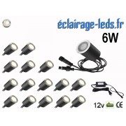 Kit 16 spots LED encastrables Mur et Sol 6w blanc naturel naturel 12v ref sms-16