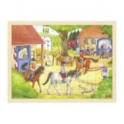 puzzle-uri din lemn pentru copii, cai de la herghelia, 96 articole, jucării Montessori MP