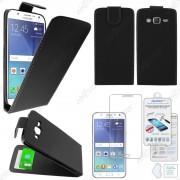 Ebeststar ® Pour Samsung Galaxy J5 Sm-J500f Housse Simili Cuir À Clapet Coque Etui, Couleur Noir + Film Verre Trempé