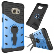 For Samsung Galaxy S7 Edge / G935 Shock-Resistant 360 Degree Spin Tough Armor TPU+PC Combination Case with Holder(Blue)