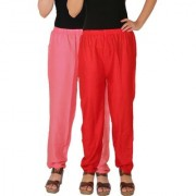 Culture the Dignity Women's Rayon Solid Casual Pants Office Trousers With Side Pockets Combo of 2 - Baby Pink - Red - C_RPT_P2R - Pack of 2 - Free Size