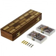 Game Cribbage Boards Set 2 Decks Of Cards 6 Metal Pegs With Storage