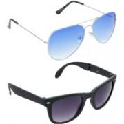Hrinkar Aviator Sunglasses(Blue, Grey)