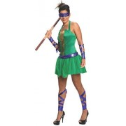 Nickelodeon Secret Wishes Women's Teenage Mutant Ninja Turtles Animated Series Sassy Adult Donatello Costume with Backpack Shell, Multicolor, Small