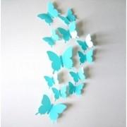 Jaamso Royals 'light Blue 3D Butterflies' Wall Sticker 1 Combo of 12 Piece (PVC Vinyl 13 cm x 15 cm 3D Stickers )