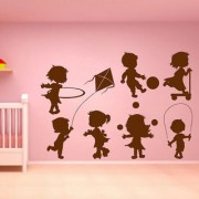 Decor Villa Wall Sticker (Kids playing games Surface Covering Area 24 x 17 Inch)