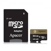 Памет Apacer 64GB MicroSDXC UHS-I U3 95/85 Class10 (1 adapter) AP64GMCSX10U4-R