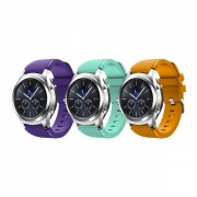 Set 3 curele din silicon universale 20mm compatibile cu Samsung Gear S2 Classic, Watch Active, Watch 42mm, Huawei Watch 2/ 2 Pro, mov, turcoaz, portocaliu