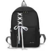 Qushi Preppy Style Fashion Waterproof Women Girls Backpack Korean Design Drawstring Chain travel College Office Bag 30 L Trolley Laptop Backpack(Black)