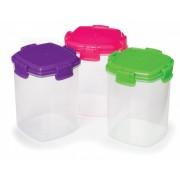 Set 3 cutii alimente plastic colorat Sistema Knick Knack To Go 138 ml