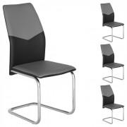 IDIMEX Lot de 4 chaises LEONA, en synthétique gris et noir