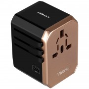 MOMAX 1-World Portable 4 USB Ports + 1 Type-C Port Worldwide Travel Adapter Universal Travel Charger for iPhone X/8/8 Plus Etc. - Gold