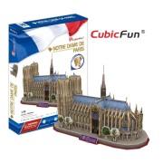 CubicFun Catedrala Notre Dame din Paris Franta Puzzle 3D - 74 de piese