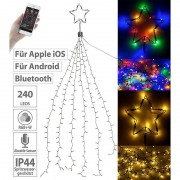 Lunartec Christbaum-Überwurf-Lichterkette, 240 RGBW-LEDs, Bluetooth & App, IP44