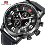 MINI FOCUS Men's Watch Sports Multifunction Alloy Quartz Watches Rotating Calendar Waterproof Leather Belt MF0025G