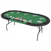 Sonata Сгъваема покер маса за 9 играчи, овална, зелена