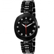 Manada Women's Black Chain Stainless Steel Rhinestones Analog Quartz Wrist Watch Metallic Black Round Shape Waterproof