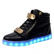 Unisex USB Rechargeable Black High Top LED Metal Velcro Flashing Simulation Shoes Sneaker - Light Up your Personality (9UK/India (43EU)