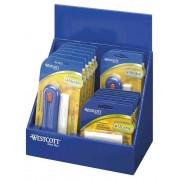 Radiera alba retractabila in suport plastic cu perie + 3 rezerve, WESTCOTT Microban -culori asortate