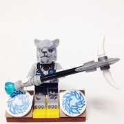 "Minifigure Packs: Lego Legends Of Chima Bundle ""(1) Saber Tooth Tiger Tribe Sykor"" ""(1) Figure Display Base"" ""(3) Figure Accessorys (Saber Tooth Staff & Ice Discs)"""