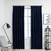 vidaXL Rideaux occultants et crochet 2pcs Velours Bleu foncé 140x245cm