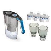 Pachet Cana filtranta Laica Gri+ 3 filtre + 2 pahare
