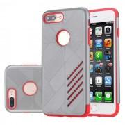 PC capa dual + caso de TPU para IPHONE 7 PLUS - gris + rojo
