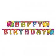 Banner holografic litere Happy Birthday