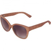 Ivy Vacker Brown Oversized Wooden Sunglass for Women