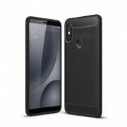 dayspirit wire drawing TPU de fibra de carbono para Xiaomi mi A2? mi 6X? redmi note 5 pro - negro