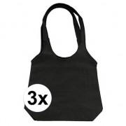 Geen 3 x Zwarte opvouwbare tassen/shoppers