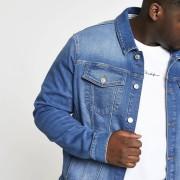 River Island Mens Big and Tall Blue stretch denim jacket (XXXXXXL)