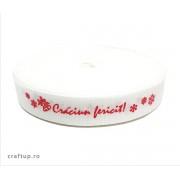 Bandă decorativă -Tafina 15mm- Crăciun fericit (rolă 25m)