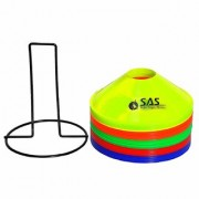 SAS Space Marker Cones for Soccer Football Set of 25 Comes with Stand - 2 Inch