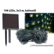 Solar-LED-Lichternetz, 198 LEDs, kaltweiss, 3 x 3 m, IP44 | Lichternetz