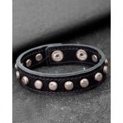 Dare By Voylla Black PU Leather Metallic Stud Studded Bracelet For Men