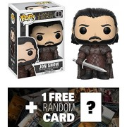 Jon Snow: Funko POP! x Game of Thrones Vinyl Figure + 1 FREE Official Game of Thrones Trading Card Bundle (12215)