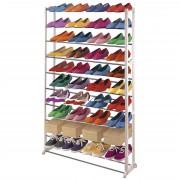 Schuhregal Schuhablage, Kunststoff, Metall Querstreben, weiß ~ für 40 Paar Schuhe ~ Variantenangebot