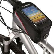 Shop4 - Telefoonhouder Fiets Frame Tasje Zwart Rood (139 x 73mm)