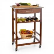 Klarstein KLARSTEIN cărucior de room service, cărucior de bucătărie, rafturi pentru vin, placa de granit, maro (ST2-Zimmerservice)