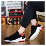 Zapatos Deportivos Para Unisexo Suelas Gruesas Aumentar La Altura Casual Tenis -Negro Y Rojo