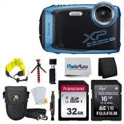 Fujifilm FinePix XP140 Cámara digital (azul cielo) + tarjeta SD de 48 GB + correa flotante + sistema de limpieza + trípode flexible de 12 pulgadas + protectores de visualización + lector de tarjetas SD + billetera de tarjeta de memoria + funda para cámara