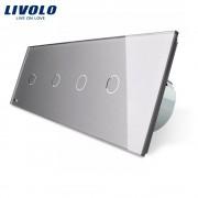 Intrerupator LIVOLO cu touch din sticla cu 4 intrerupatoare simple, gri
