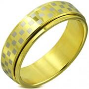 Arany színű sakkmintás, középen forgó nemesascél karikagyűrű-9