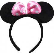 Tako bell Bow head band Minnie Mouse/Mickey Mouse Bow Headband/ Minnie Mouse Ears Headband Hairband Costume Accessory(PACK OF 2 PINK )